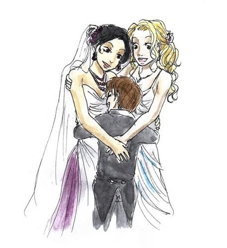 레지나와 엠마 바탕화면 with 아니메 called 백조 퀸 Wedding
