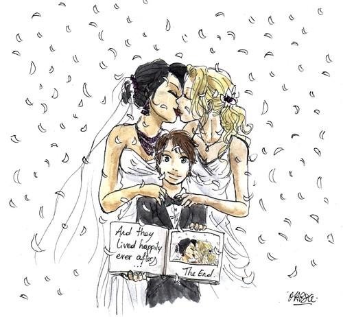 Regina et Emma fond d'écran with animé called cygne Queen Wedding