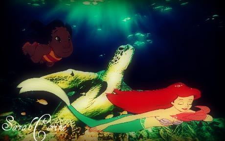 डिज़्नी क्रॉसोवर वॉलपेपर titled Swimming with a कछुआ, कछुए