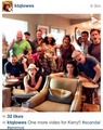 The cast at Jeff Perry's house cheering Kerry on….