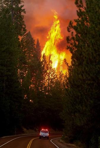 美利坚合众国 壁纸 containing a 行车, 车道, 行车道 titled Yosemite Fires