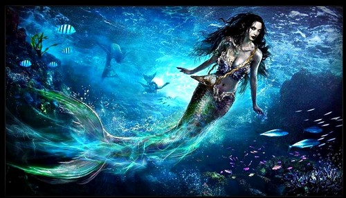 "Once Upon A Time karatasi la kupamba ukuta possibly containing a pacific sardine and a skipjack titled **•Beautiful Mermaid Art From 3x01-""Heart Of The Truest Believer""•**"