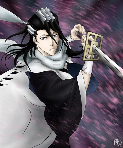Kuchiki Byakuya Hintergrund probably with a sign, a garment, and a hip boot titled *Byakuya*