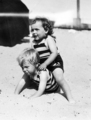 2 year old Norma Jeane Baker (the blonde one) plays on the beach with a friend - marilyn-monroe photo