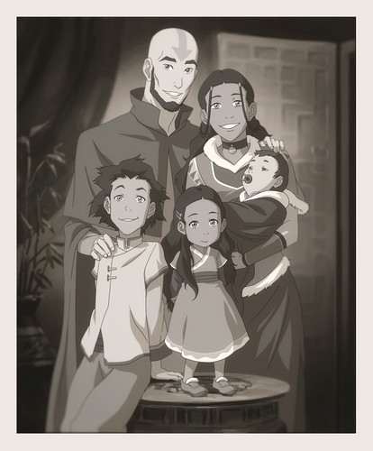 Avatar The Last Airbender kertas dinding called Aang and Katara's family portrait