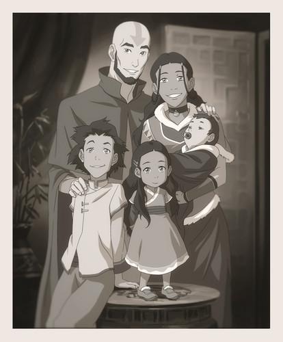 아바타 코라의 전설 바탕화면 titled Aang and Katara's family portrait