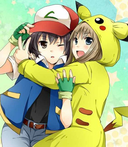 yuri wallpaper containing anime titled Ash And Pikachu Yuri