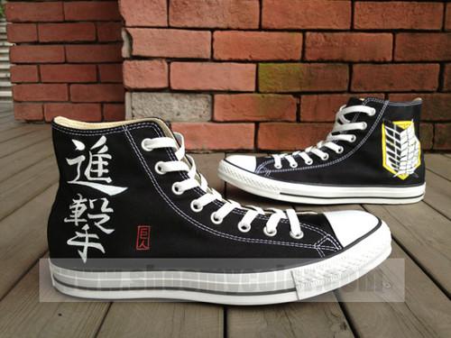 Attack on Titan karatasi la kupamba ukuta with a running shoe titled Attack On Titan canvas shoes hand painted sneaker