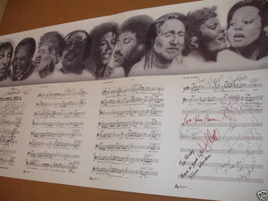"Autographed ""We Are The World"" Sheet Musica"