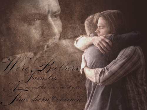 Supernatural wallpaper probably containing a sign and a street entitled Brotherly love