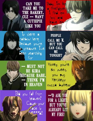 死亡笔记 壁纸 probably with 日本动漫 called Death Note Pick Up Lines