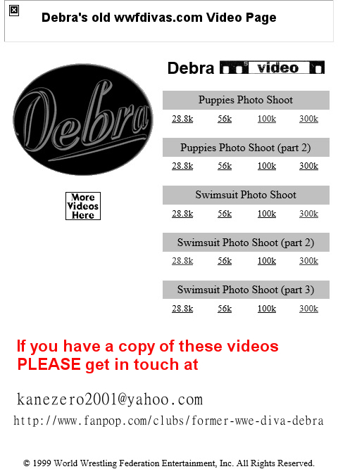 Debra's wwfdivas.com VIDEO page!