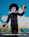 Edward Edward Scissorhands Hands Painting - johnny-depp fan art