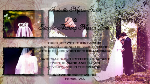 Twi Hards Fanpires Wallpaper With A Sign Led Edward And Bella S Wedding Invitation