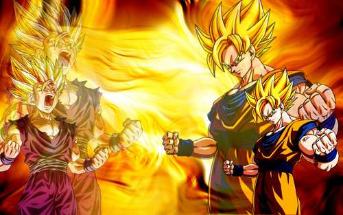 Dragon Ball Z wallpaper possibly containing anime called Goku & Gohan Wallpaper