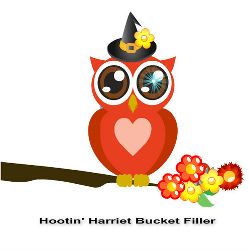 Owls fond d'écran possibly with a sign and a gelée haricot, fève entitled Hootin' Harriet Bucket Filler