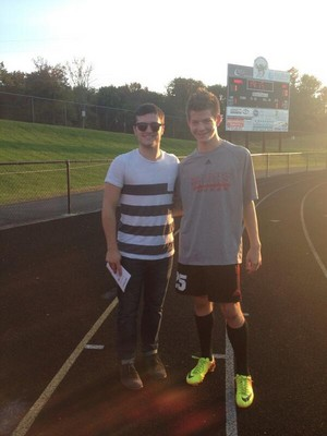 Josh at a Ryle soccer game today! (10.3.13)
