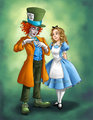 Mad Hatter and Alice - alice-in-wonderland-2010 fan art
