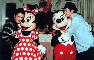 Michael And First Wife, Lisa Marie Presley With Mickey And Minnie