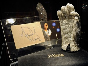 Michael's Trademark glove, glovu On Display