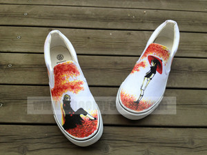 Naruto Uchiha Sasuke hand painted canvas shoes