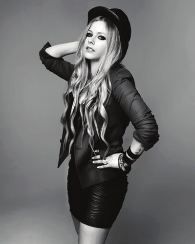Avril Lavigne wallpaper possibly containing a hip boot, a leotard, and tights titled Photoshoot Maniac