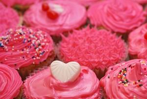 rosado, rosa cupcakes ♥