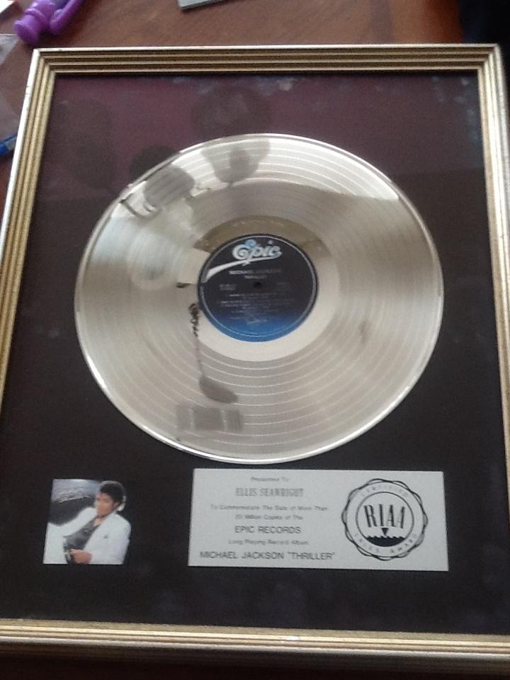 """Platinum Record For """"Thriller"""""""