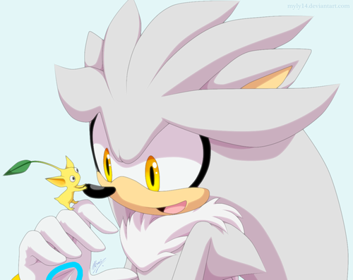 Silver the Hedgehog karatasi la kupamba ukuta probably with anime entitled Silver and his Pikmin