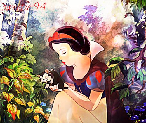 迪士尼跨界(crossover) 壁纸 probably containing 日本动漫 entitled Snow White & Figaro