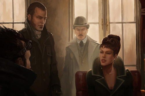 Sherlock Holmes 바탕화면 with a business suit entitled Steampunk Holmes