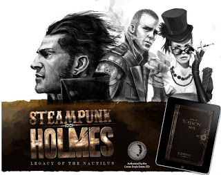 Sherlock Holmes wallpaper probably containing a sign and a newspaper called Steampunk Holmes