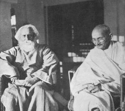 Rabindra Nath Tagore fond d'écran probably with a surcoat, surcot entitled Tagore and Gandhi