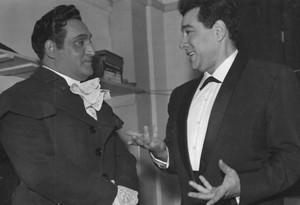 Tenor Richard Tucker (left) speaking with Lanza in 1958 at Tucker's Covent Garden debut.