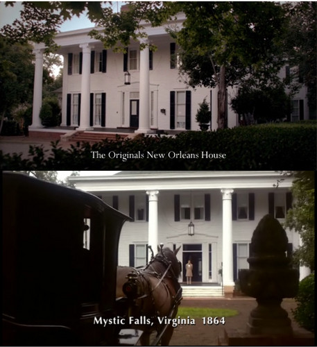 The Originals Hintergrund containing a hip roof, a bungalow, and a villa called The Originals' house / The Salvatores' birthhouse