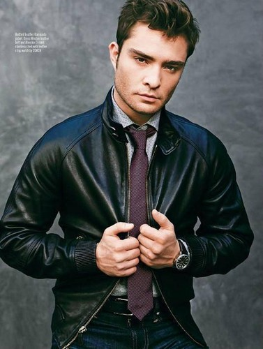 Ed Westwick wolpeyper containing a business suit and a suit called 'August Man' Malaysia Magazine - October 2013.