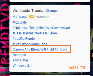 'Damon And Elena Will Fight For Love' trending Worldwide.—October 17, 2013