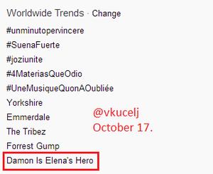 'Damon Is Elena's Hero' trending Worldwide.—October 17, 2103