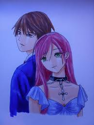 Rosario Vampire wallpaper containing a portrait called A nice picture of Moka and Tskune