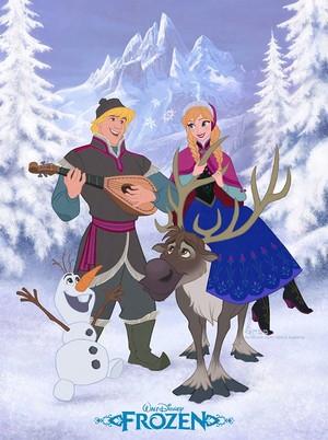 Anna, Kristoff, Olaf and Sven