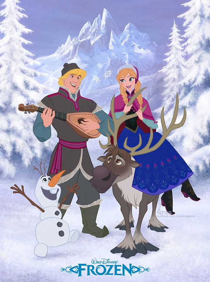 Anna kristoff olaf and sven frozen fan art 35841646 - Frozen anna and olaf ...