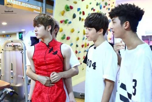 bangtan boys wallpaper called Bangtan Boys as Sailor Moon, a ladybug, a maid, and mais