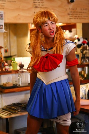 Bangtan Boys as Sailor Moon, a ladybug, a maid, and mais
