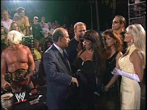 Frühere WWE-Diva… Debra Hintergrund with a business suit entitled Debra - Four Horsemen Documentary