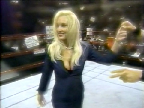 Frühere WWE-Diva… Debra Hintergrund possibly with hosiery, a business suit, and a well dressed person called Debra - Superstars - 01/30/01
