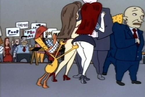 Мультики Обои containing Аниме entitled Duckman Trying to grab Katrine and Petra's butt