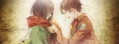 Attack on Titan karatasi la kupamba ukuta with anime titled Eren X mikasa