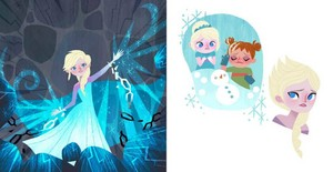 Frozen Elsa's Icy Magic and Anna's Act of True Love Illustrations