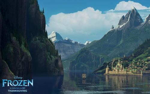 Frozen Hintergrund probably with a lakeside called Frozen Hintergrund