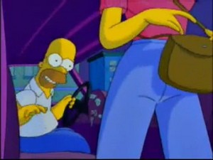 Homer saw the Gummi Venus stuck to the back of her pants
